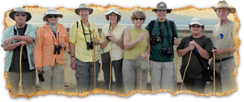 Hikers posing by Lake Maramboi